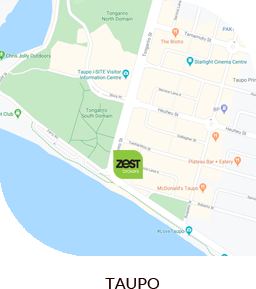 Map of Taupo showing Zest offices